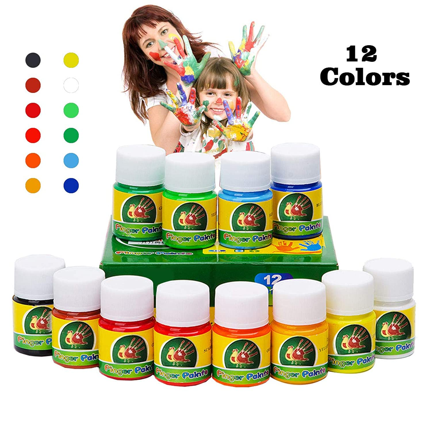 Hapree 12 Colors Washable Finger Paint, Non-Toxic Bathtub Kids Paint Set, Fingerpaints Kit for Toddlers, 12 x 30 ml (1.02 fl. oz)