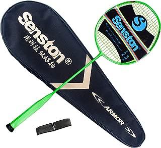 Senston Badminton Racquet ONE-Piece Badminton Racket Single High-Grade Carbon Fiber Badminton Racket N80-YT/S200,Including Badminton Bag