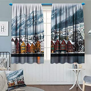European Cityscape Decor Collection, Decoration Thermal Insulated, Winter View of Bruges Norway Northern Mountain Landscape European Print Urban Deco, Blackout Draperies For Bedroom, 72x63 Inch Multi
