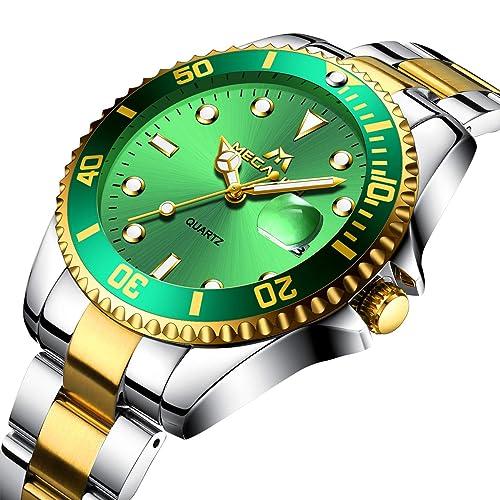 697e6302b Mens Watches Men Waterproof Large Face Gold Stainless Steel Calendar Date  Wrist Watch Luxury Sports Business