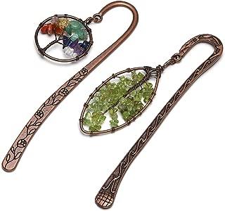 JOVIVI 2pcs Anqitue Copper Metal Bookmark Beading Bookmarks with Handmade 7 Chakra Healing Crystals Tree of Life Tumbled Gemstones & Leaf Bead