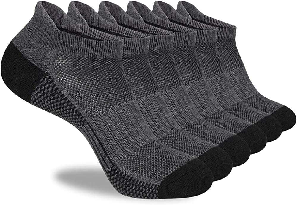 LITERRA Mens Sales Ankle Socks 6 Pack Low Brand Cheap Sale Venue Cushion Cut Athletic Running