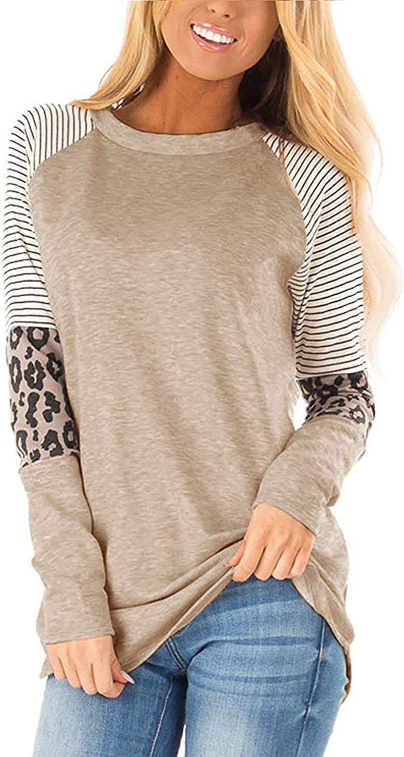 Hount Womens Casual Long Sleeve Shirts Loose Fit Leopard Print Tops Comfy Tunic Tops T-Shirts