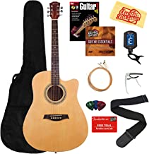 Vault 41-Inch Cutaway Acoustic Guitar - Natural Bundle with Gig Bag, Strap, Strings, Capo, Tuner, Picks, Fender Play Online Lessons, Instructional Book, and Austin Bazaar Instructional DVD