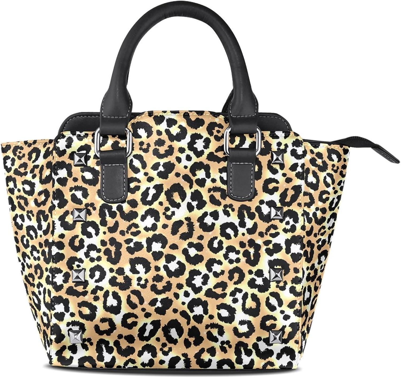 My Little Nest Women's Top Handle Satchel Handbag Trendy Leopard Pattern Ladies PU Leather Shoulder Bag Crossbody Bag