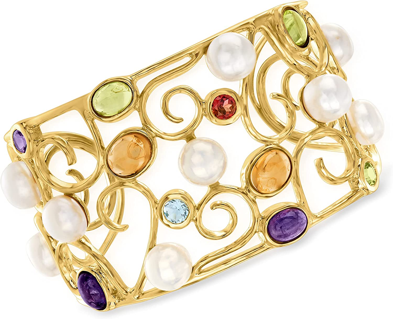 Ross-Simons 9mm Cultured Pearl and 13.60 ct. t.w. Multi-Gem Swirl Cuff Bracelet in 18kt Gold Over Sterling