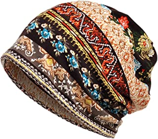 Colorido Women Vintage Sun Flower Print Muslim Block Cap Stretch Turban Hat Head Scarf