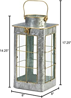 Candleholders Lanterns Rustic Country Style Small Farmhouse Galvanized Lantern Candle Holder Display