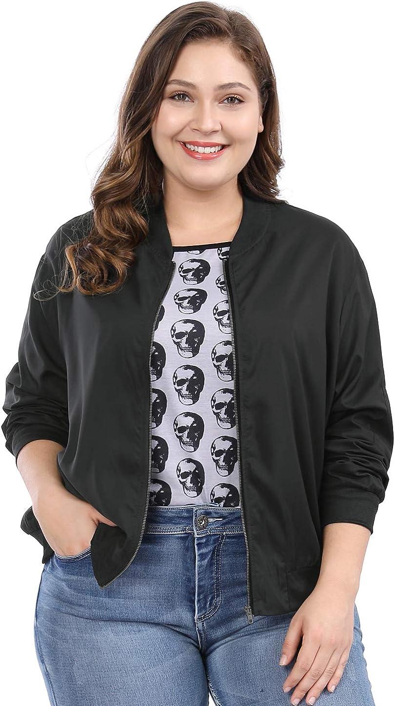 uxcell Women's Plus Size Contrast Tampa Mall Zip Long-awaited Lightweight Bo Pocket Trim