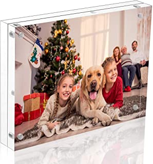Niubee Acrylic Picture Frame 5x7, Clear Double Sided Acrylic Photo Frames Frameless Desktop Display with Gift Box Package