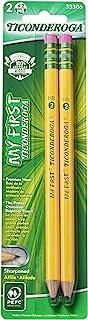 TICONDEROGA مداد اولیه من، مداد اولیه مداد شمعی، چوب برش شماره 2 HB Soft، Pre-sharpened، زرد، 2 بسته (33306)