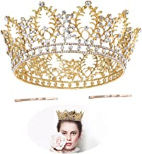 Frcolor Vintage Crystal Rhinestone Bridal Wedding Crown Bling Tiara with Side Comb Gold