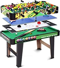 Multi Game Table 4-in-1 Family Entertainment Game Table with Air Hockey Pool Football Soccer Table Tennis Multi-Activity Combination Kids Game Table