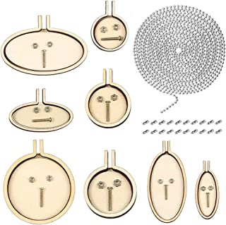 Caydo 29 Pieces Mini Ring Embroidery Hoops Kit Include Beaded Chain (2.4 mm), Embroidery Hoops and Matching Connectors for Art Craft Sewing and Hanging