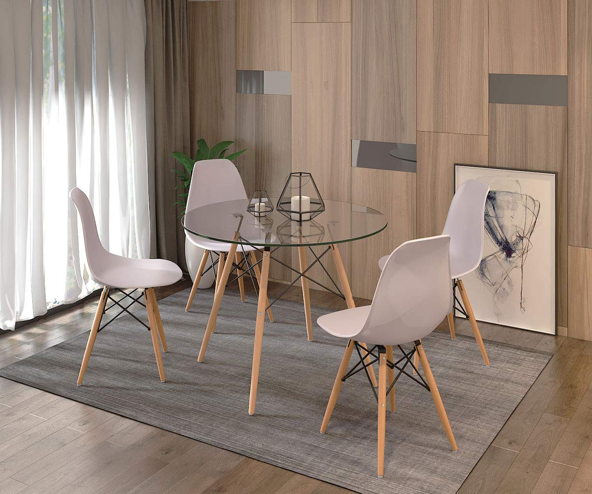 Dining Table and 10 Chairs,Modern Glass Round Dining Table with Eiffel  Dining Chair Dining Table Set for Kitchen Dining Room Furniture (Glass  Table+10