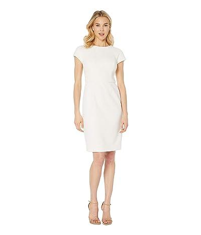 LAUREN Ralph Lauren 159E Bonded Scuba Lace Pollock Short Sleeve Day Dress (Mascarpone Cream) Women