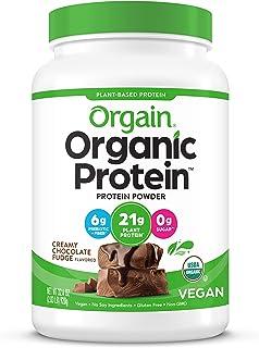 Orgain Organic Plant Based Protein Powder, Creamy Chocolate Fudge - Vegan, Low Net Carbs, Non Dairy, Gluten Free, No Sugar...