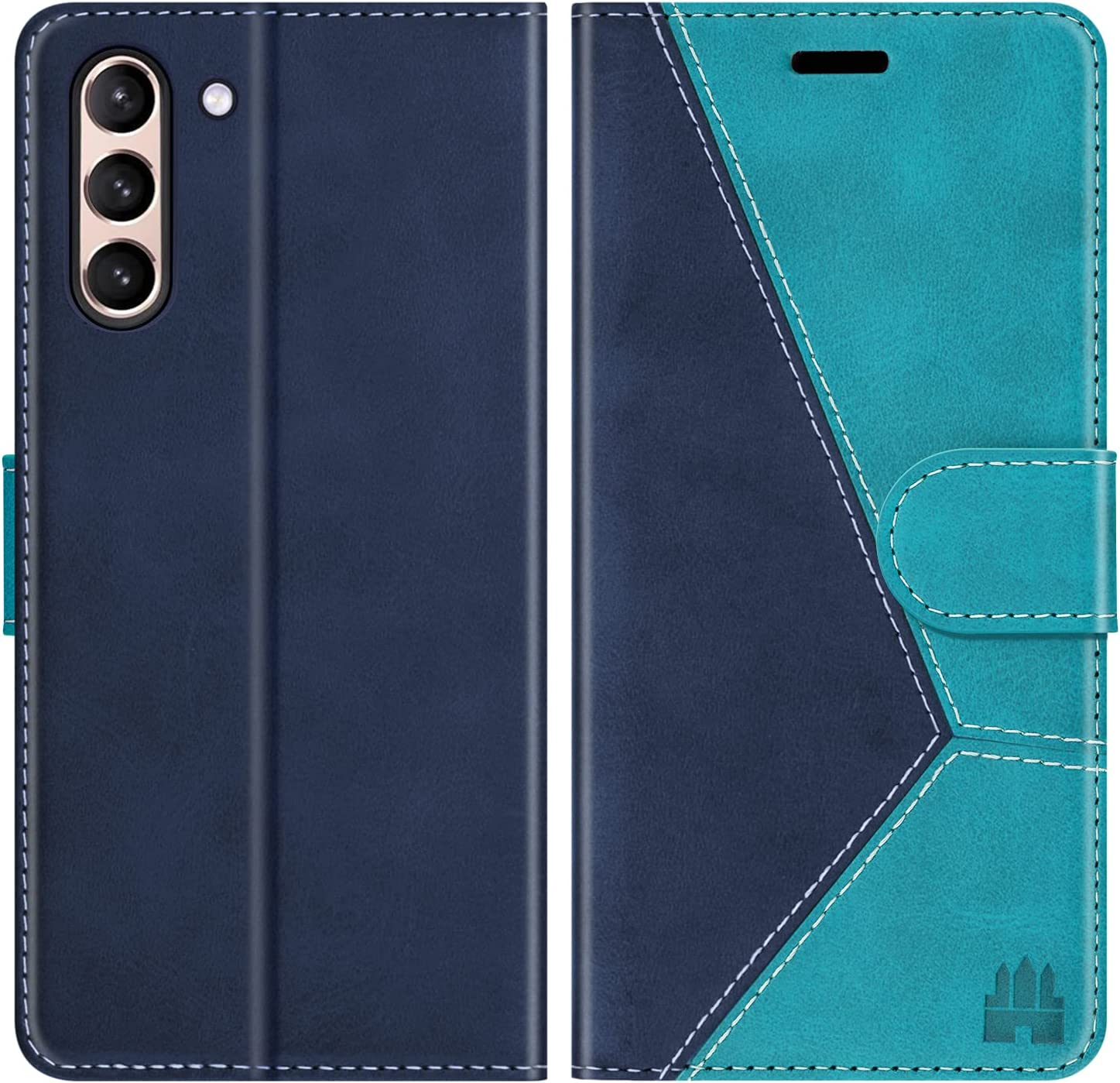 Caislean Wallet Case for Samsung Galaxy S21+ Plus 5G, [RFID Blocking] Card Holder Flip Cover [Shockproof TPU Inner Shell] [Kickstand] Magnetic Protective PU Leather Folio Folding Case 6.7 inch, Blue