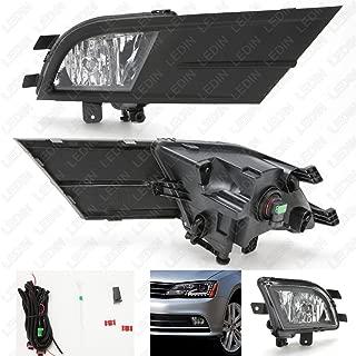 LEDIN for 2015 2016 2017 Volkswagen Jetta Clear Lens Fog Lights Set with Wire Harness + Bezel + Switch + Bulbs