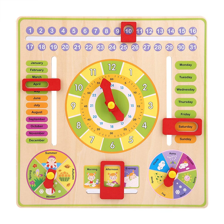 認知玩具 カレンダー おもちゃ 時計玩具 木製 天気?時間?季節 英語勉強 認識 教育玩具 知育玩具 子供 幼児 パズル 初期教育 誕生日プレゼント