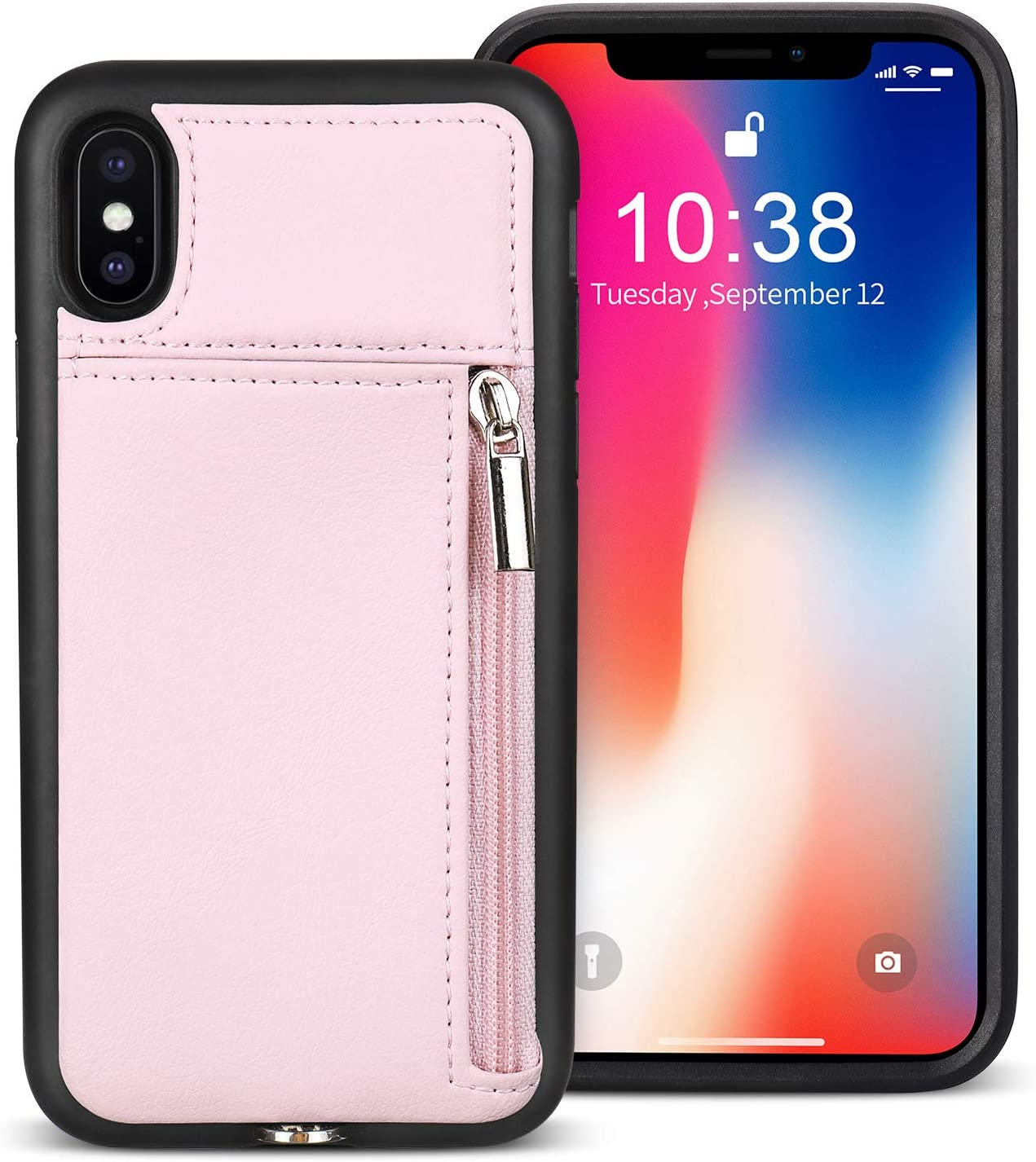 JISON21 iPhone X Wallet Case , Zipper Wallet Case with Credit Card Holder, iPhone XS leather Wallet Case for Women/Men, Adjustable Crossbody Chain Case for iPhone X/XS 5.8 Inch (Pink)