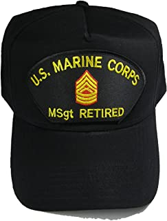 U.S. MARINE CORPS MSGT RETIRED HAT with Master Sergeant Rank In The Center cap - BLACK - Veteran Owned Business