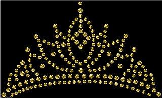 Iron-On Gold Tiara Crown Rhinestone Diamante Transfer Hotfix Crystal Motif Applique