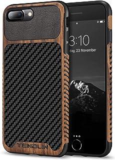 TENDLIN Compatible with iPhone 7 Plus Case/iPhone 8 Plus Case Wood Grain with Carbon Fiber Texture Design Leather Hybrid S...