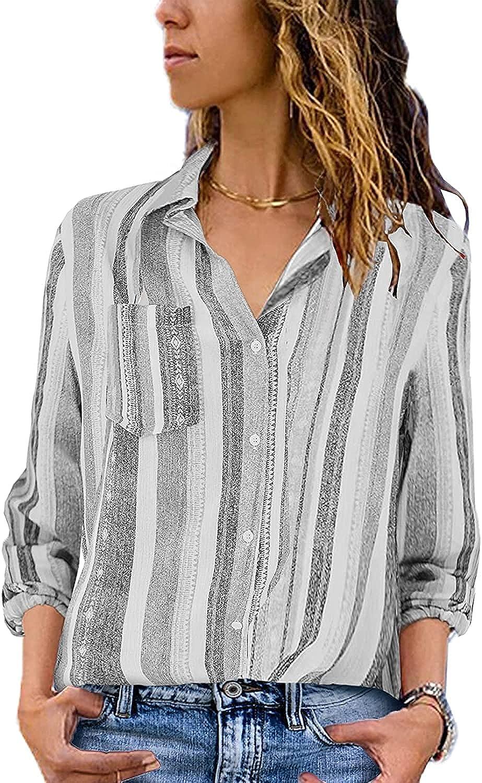 Guteidee Fall Womens 2021 Fashion Summer Casual V Neck Work Shirts Short Roll Up Long Sleeve Stripes Cuffed Blouses