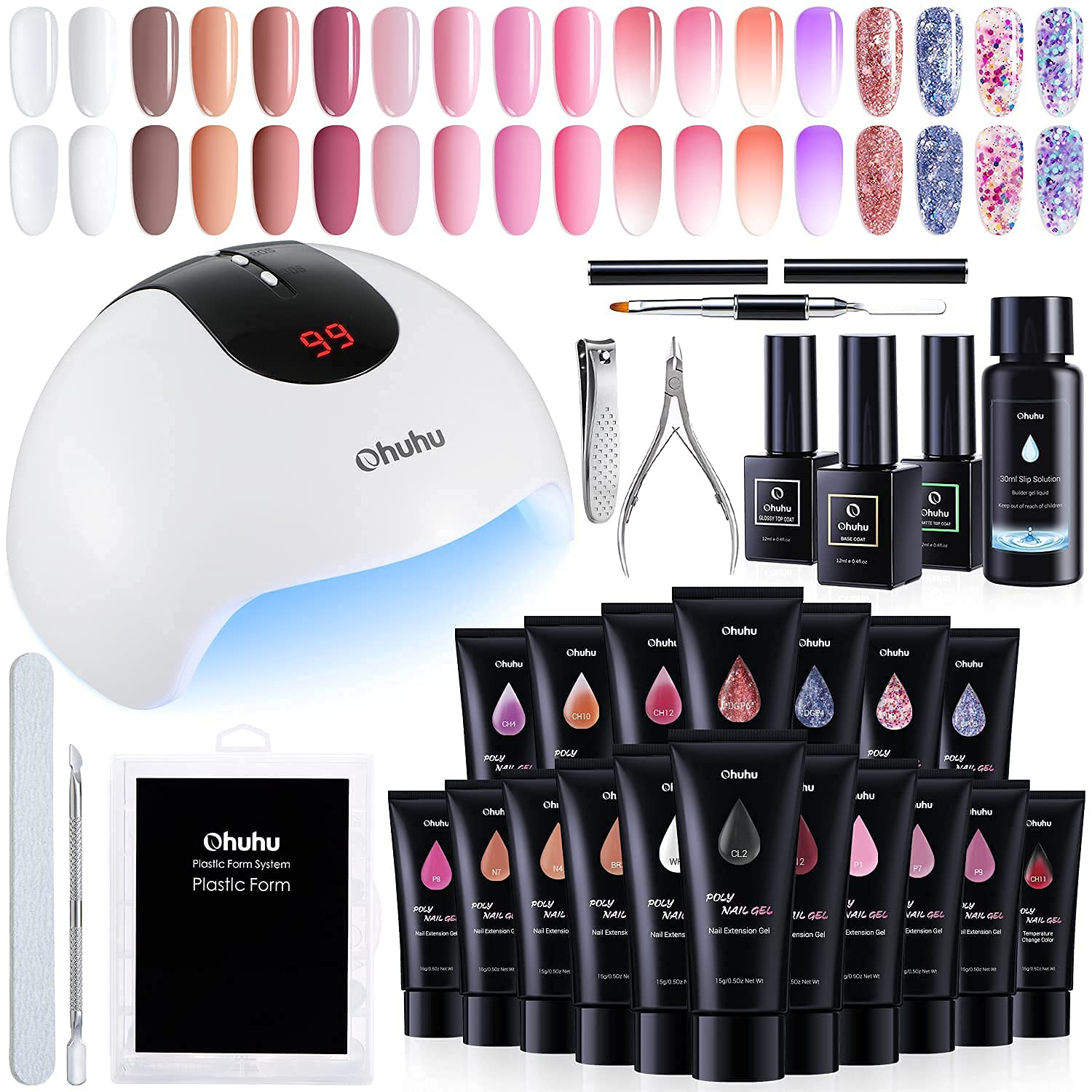 Ohuhu Poly Gel Kit Bombing free shipping with 36W 18 Colors store LED Lamp UV Nail