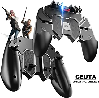 Mobile Game Controller [Six-Finger] - Game Controller with Gaming Trigger, Shoot Sensitive Controller Aim & Fire Trigger Compatible with iPhone/Android (Black)