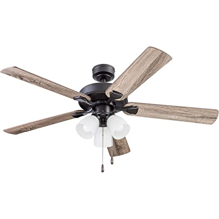 """Portage Bay Ceiling Stannor 52"""" Bronze Indoor Fan with Frosted 3 Light LED Multi Arm E26/A15 Bulb and Pull-Chains, Traditional Style, 5 Reversible Barnwood/Northern Ebony Blades, 51434"""