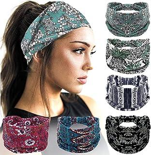 Headbands For Women, 6 PCS Wide Cotton Boho Headbands Elastic Bandana Non Slip Sweat Fashion Large Headwraps Hair Bands He...