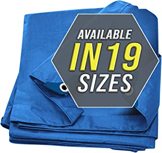 Tarp Cover Blue Waterproof 40x50 Great for Tarpaulin Canopy Tent, Boat, RV Or Pool Cover!!! (Standard Poly Tarp 40'X50')