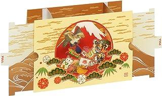 AAY42-1431 和風グリーティングカード・お年賀/むねかた 立体「初夢福づくし」(中紙・封筒付) 再生紙 英文説明入