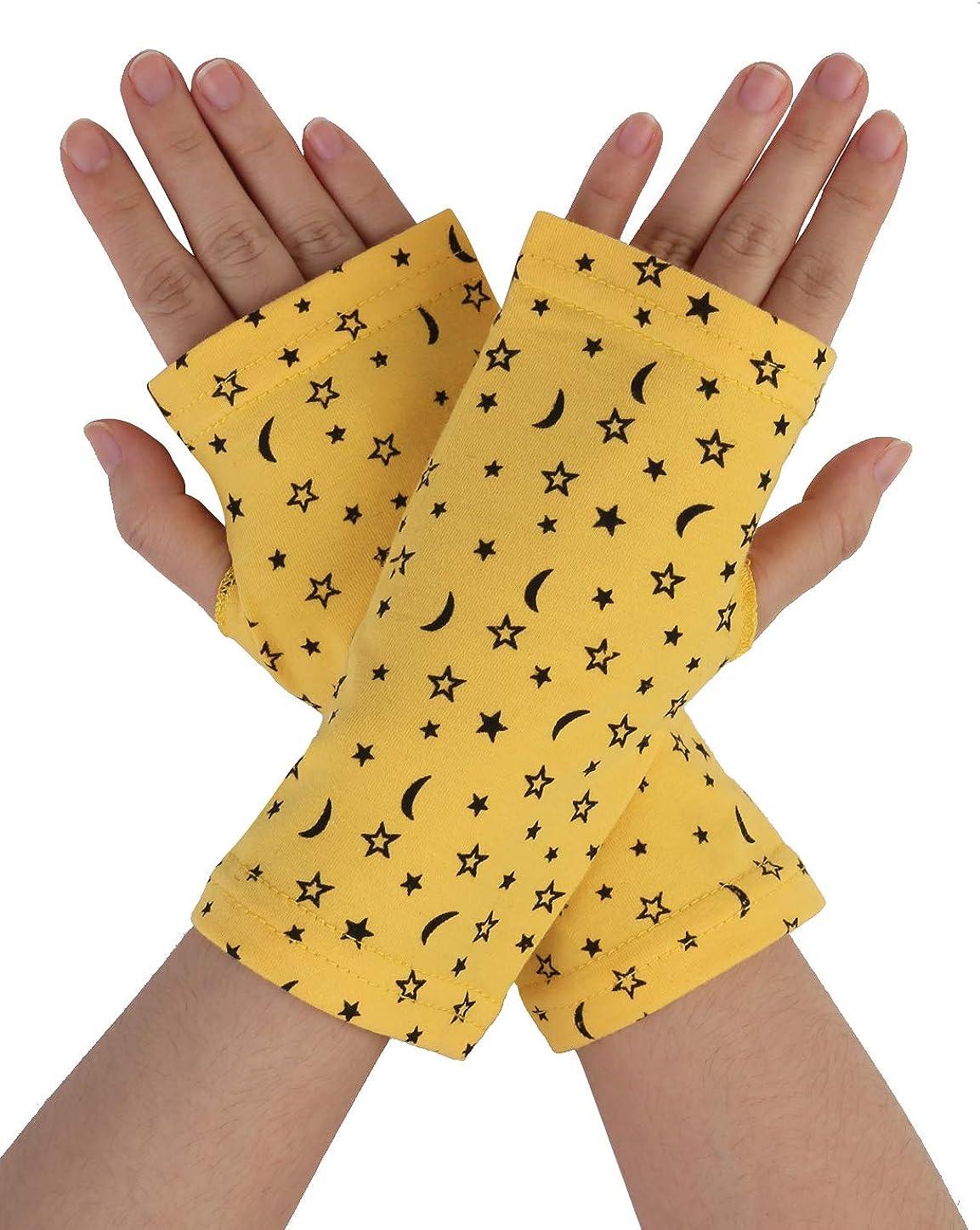 Allegra K Women Moon Star Print Short Fingerless Gloves Wrist Warmer Mitts Pair