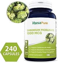 Chromium Picolinate 1000mcg 240 Veggie Capsules (Non-GMO & Gluten Free) - Support Weight Management, Cardiovascular Function, Sugar Metabolism