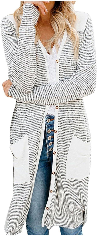 Womens Cardigan Sweaters, Womens Tunics Shirts Tops Casual Long Sleeve Round Neck Loose Soft Striped Tunics
