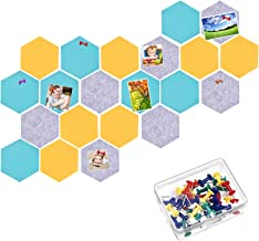 21 Pieces Pin Board Hexagon Felt Board Tiles Bulletin Board Memo Board Notice Board with 40 Pieces Push Pins for for Offic...