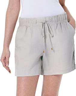 Women's Adjustable Drawstring Linen Shorts (Medium, Sandstone)