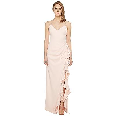 Badgley Mischka V-Neck Ruffle Front Gown (Rosette) Women