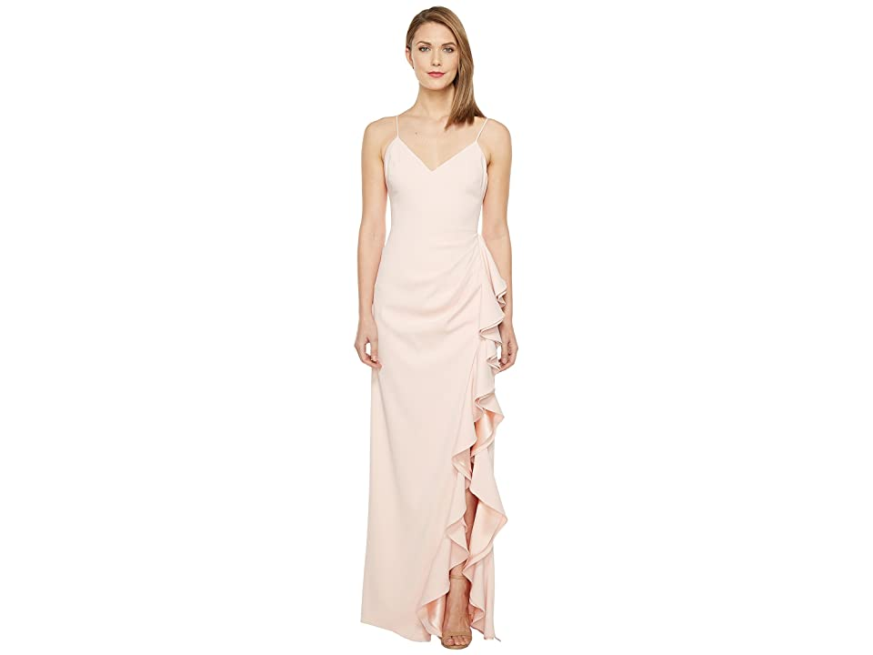 Badgley Mischka V-Neck Ruffle Front Gown (Rosette) Women
