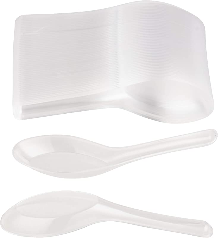 200 Pack Chinese Soup Spoons Disposable Plastic Asian Soup Spoons For Appetizer Ramen Pho Clear 4 5 X 1 2 Inches