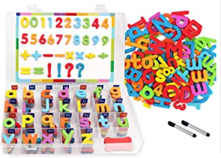 Magnetic Alphabet Letters Kit Colorful 216 Pcs with Double-Side Magnet Board for Preschool Kids Toddler Spelling and Learning