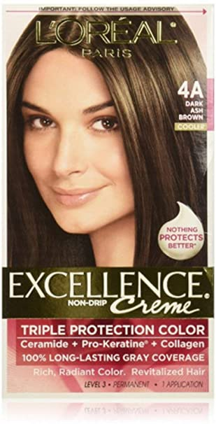 Amazon Com L Oreal Paris Excellence Creme Permanent Hair Color 4a Dark Ash Brown 100 Percent Gray Coverage Hair Dye Pack Of 1 Chemical Hair Dyes Beauty