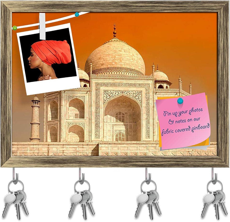 Artzfolio Taj Mahal D3 Key Holder Hooks   Notice Pin Board   Antique golden Frame 13.9 X 10Inch