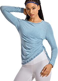 CRZ YOGA Women's Pima Cotton Workout Shirts Long-Sleeve T-Shirt Crewneck Athletic Top Gym