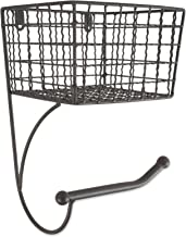 DII Rustic Wall Mount Toilet Tissue Paper Roll Holder and Dispenser with Storage Basket for Bathroom Storage, Z02229, Gray...