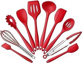 مجموعة الطبخ 10 قطعة/مجموعة أدوات الطبخ والخبز سيليكون مقاومة للحرارة مجموعة أدوات الطهي (اللون، الأحمر 10 قطع)، حلوى 10 ق...