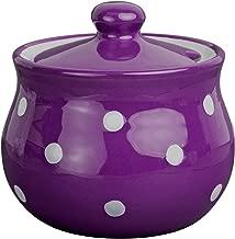 Handmade Purple and White Polka Dot Ceramic Sugar Bowl, Pot With Lid | Pottery Honey Jar, Jam Jar | Housewarming Gift by City to Cottage